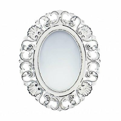 WALL MIRRORS DECORATIVE, Oval Antique Rustic Framed Off White Etched ...