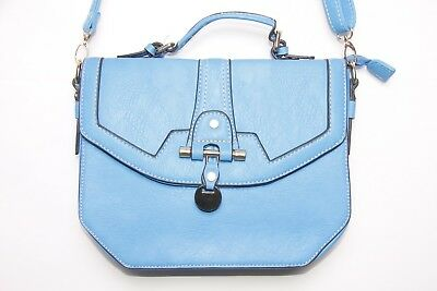 Blogger Women Everyday Blue tough Cross Body Bag/Handbag w Gold Clasp (S298)