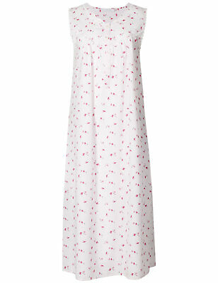 LADIES MARKS AND Spencer M S Pink Floral Lace Nighty Nightdress 8-26 ... 725049d47