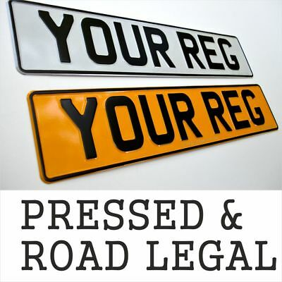 2x Pressed number plates pair metal car reg embossed road aluminium GB UK Legal