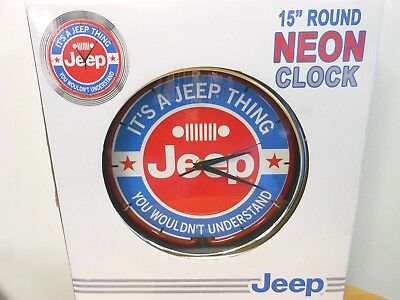 """Jeep 15"""" Round Neon Clock """"it's A Jeep Thing You Wouldn't Understand"""""""