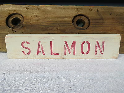 16 Inch Wood Hand Painted Salmon Sign Nautical Maritime Seafood (#s398)