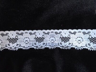 """4 yards white floral double scalloped stretch lace 1 7//16/""""w #S-1-4 US SHIPPER"""