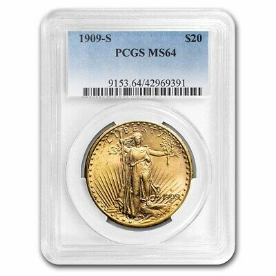 1909-S $20 Saint-Gaudens Gold Double Eagle MS-64 PCGS - SKU#8740