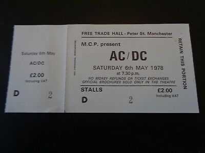 AC/DC TICKET  MANCHESTER FREE TRADE HALL UK 6th MAY 1978 ...UNUSED TICKET