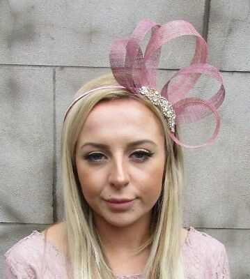 Dusky Dusty Pink Gold Silver Sinamay Fascinator Alice Band Headband Races 5444