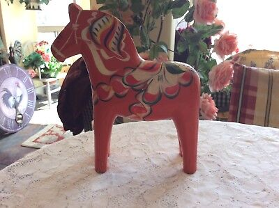 "Vtg 81/2"" Swedish By Grannas Olssons Dala Horse Orange/red Hand-Carved & Painted"