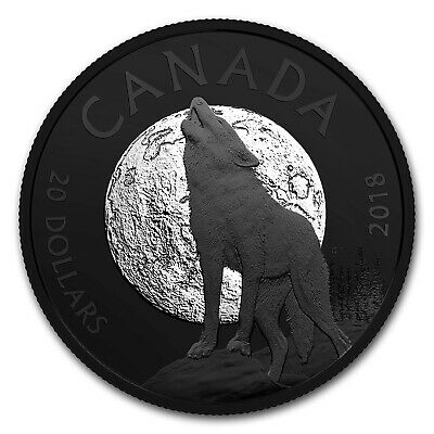 2018 Canada 1 oz Silver $20 Nocturnal By Nature: The Howling Wolf - SKU#163654