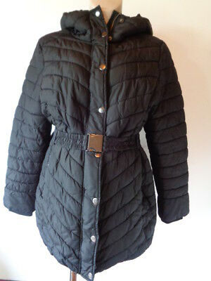 H&m Mama Maternity Black Quilted Belted Coat Jacket Size L 16-18
