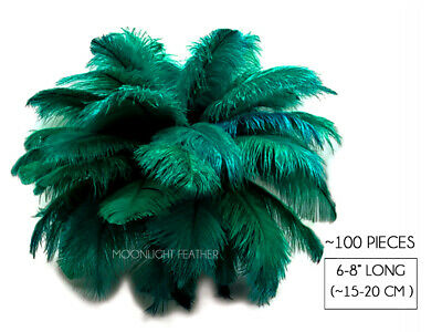 """100 Pieces 6-8"""" Peacock Green Wholesale Ostrich Feathers Halloween Mask Costume"""
