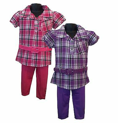 Girls Checked Shirt Tunic Top Dress Leggings and Belt 3 Pieces Set Pink Purple