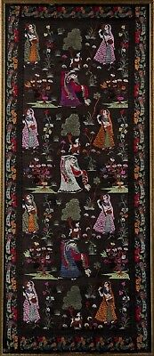 Fine India Indian Woven Panel Depicting Women in a Landscape ca. 20th century