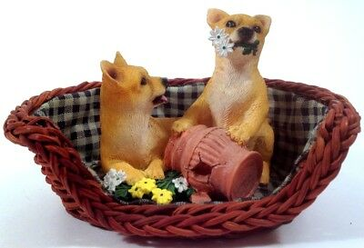 NOS Chihuahua Pups in Basket Living Stone Sidekicks Sculpture Dog Figurine