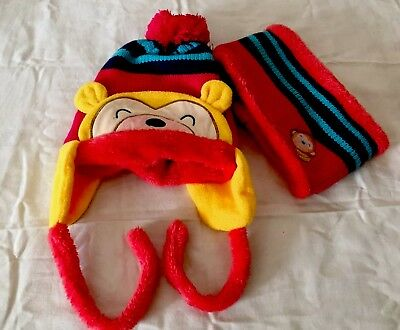2pcs Kids Boy Girl Warm Knitted Hat and Scarf with Fleece Lining Winter Outdoor
