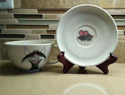 STUDIO HANDCRAFTED COFFEE or SOUP MUG SAUCER SET- CAT HUMOR - SIGNED