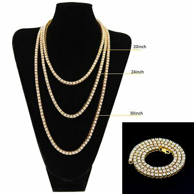"Hip Hop Mens Gold Plated Chain Necklace 30"" 1 Row Simulated Diamond Bling Tennis"