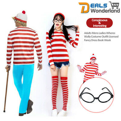 Where's Waldo Wally TV Cartoon Stag Party Mens Teacher Book Week Fancy Costume