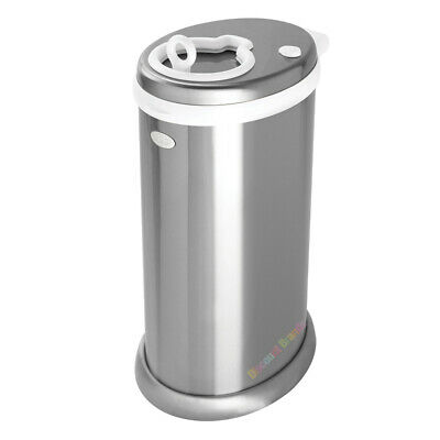 Ubbi Nappy Diaper Pail Bin Deluxe Edition Metallic Chrome Newborn Baby