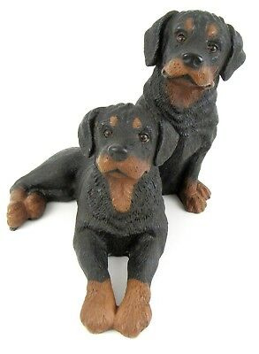 Rottweiler Pair Figurine Resin Statue Hand Painted Dogs Universal Statuary 1994