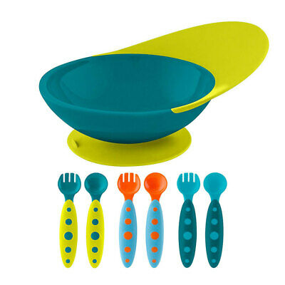 BOON Catch Bowl Spill Catcher w/ 6pc Modware Cutlery Set for Baby/Toddler Blue