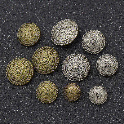 Antique Silver Metal Buttons Carved Flower for Jeans Button DIY Sewing Craft