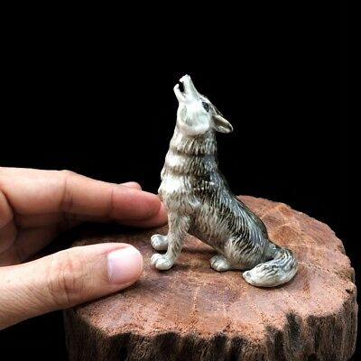 New Wolf Figurine Dollhouse Miniature Ceramic Mini Sculpture Hand Painted Gift#1