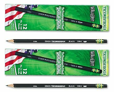 Ticonderoga Woodcase Pencil, HB #2 Black Barrel 12 ct - Pack of 2 Total 24 ct