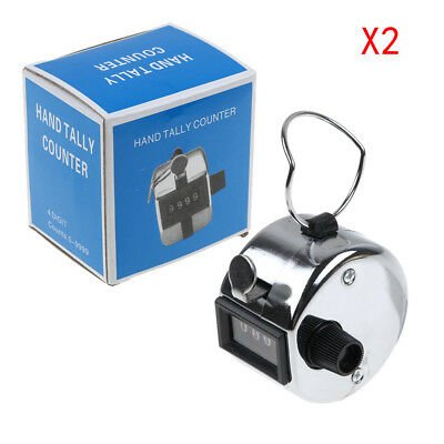 2Pcs High Quality Chrome Hand Held Clickers number people counting Tally Counter