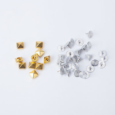 100pcs Punk Square Pyramid Rivet Studs Spikes Back Pins for Fashion Accessory UK