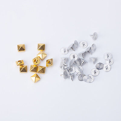 100pcs Punk Square Pyramid Rivets Studs Spikes Screw Back for Fashion Accessory