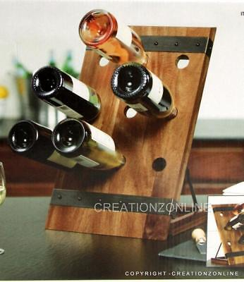 WINE RACK Luxurious Natural Acacia Wood 9 Bottles Bottle Holder Storage Alcohol