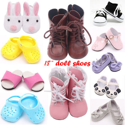 Xmas Gift Handmade Canvas White Shoes for 18inch Doll Cute Baby Kids Toys