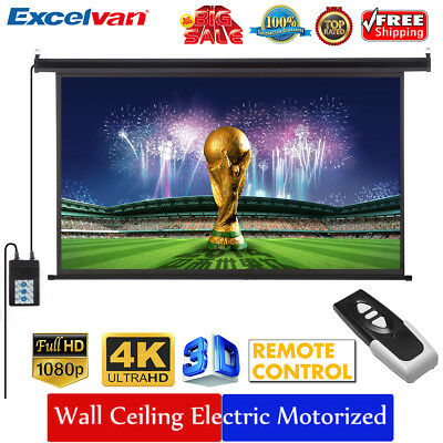Excelvan 120 Inch 16:9 Electric Motorized 1.2Gain HDProjector Projection Screen