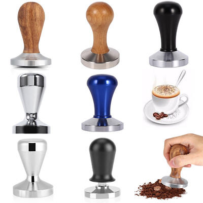 Wood & Stainless Steel Coffee Tamper Curved Flat Base Espresso Beans Press Tool