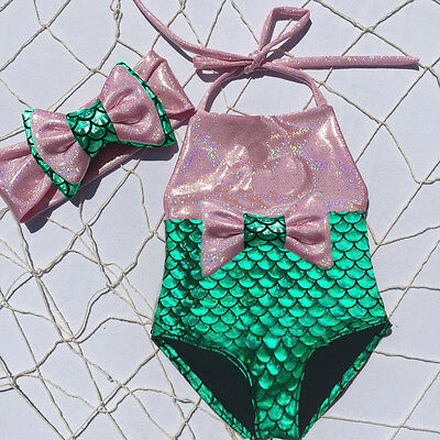 US Toddler Kids Baby Girl Mermaid Swimwear One-piece Bikini Swimsuit Beachwear