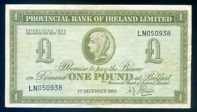 1965 Northern Ireland One Pound Banknote VF - LN050938