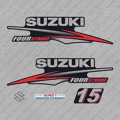 Suzuki 15HP Four Stroke Outboard Engine Decals Sticker Set reproduction 15 HP