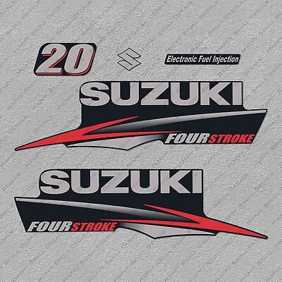 Suzuki 20HP Four Stroke Outboard Engine Decals Sticker Set reproduction 20 HP