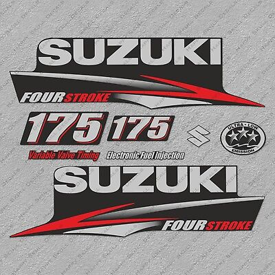 Suzuki 175HP Four Stroke Outboard Engine Decals Sticker Set reproduction 175 HP