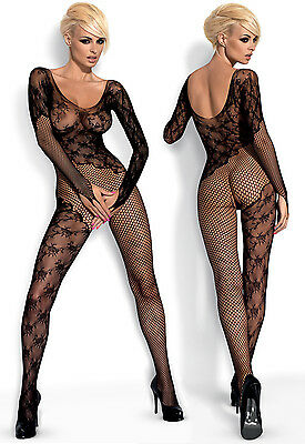OBSESSIVE F210 Luxury Super Soft Decorative Long Sleeved Fishnet Bodystocking