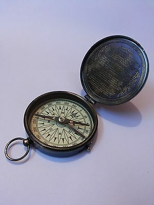 Antique Nautical Brass Pocket Poem Compass 3 Inches Vintage Marine Decor