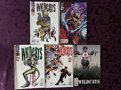 5 issues x Wildcats Comics #1 (2 covers) #2 #3 #4 - wildstrom 1999 - first print