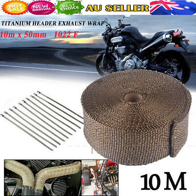 Heat Resistant 1022F Exhaust Wrap Tape 10M*50mm + 10 Stainless Steel Ties