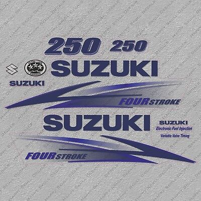 Suzuki 250 hp Four Stroke outboard engine decal sticker set kit reproduction