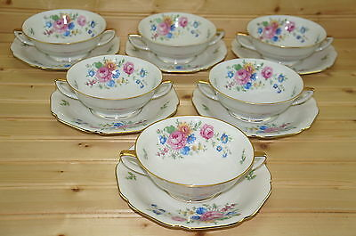 "Heinrich HC1172  (6) Cream Soup Bowls, 5 1/8"" & (6) Cream Soup Saucers 6 5/8"""