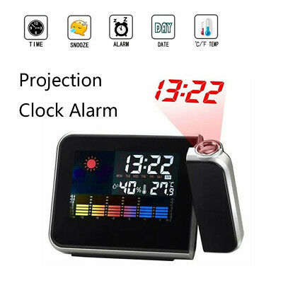 LED Digital Projection Color Screen Weather Station Calendar Snooze Clock Alarm