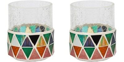 Yankee Candle Set of Two Orange and Green Corsica Mosaic Design Votive Holder