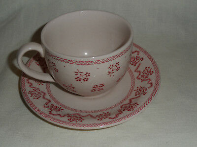 Johnson Brothers England Petite Fleur Burgundy Pink Ironstone Cup and Saucer