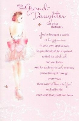 Granddaughter Birthday Cardpink Dress Big Bowsentimental Verse