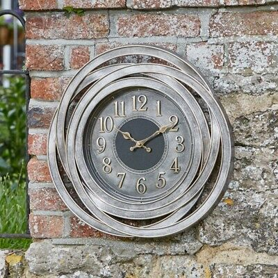 Outdoor Wall Clock Large Contemporary Garden Decoration Metal Bronze Effect 50cm